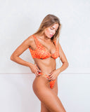 Orange Animal Print and Gold Bikini Swimsuit