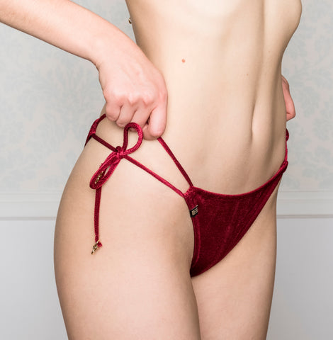 Pasithea Red Velvet Bottom Bikini Limited