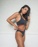 Dark Gray Sporty Bra and Brazilian Set with Lurex