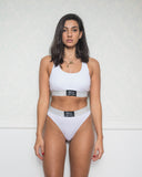 White Sporty Bra and Brazilian Set with Lurex