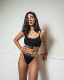Black Classic Bra and High Waist Set with Lurex