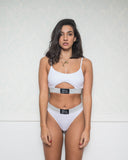 White Bra with Cut Out and Thong Set with Lurex
