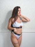 Basic White Bra with Cut Out and Thong Set