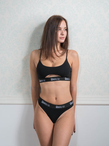Basic Black Bra with Cut Out and Thong Set