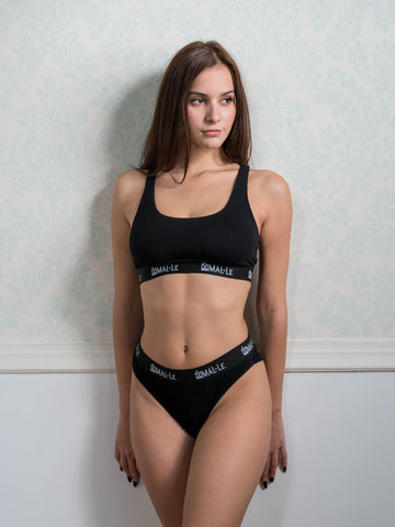 Basic Black Sporty Bra and Brazilian Set