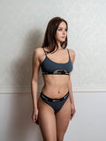 Basic Gray Bra with Cut Out and Thong Set