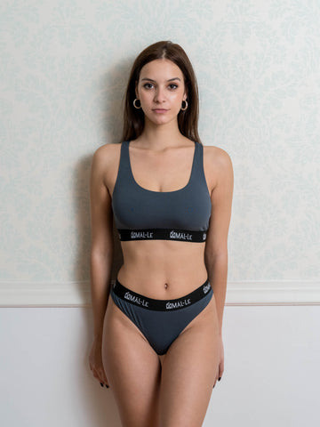 Basic Gray Sporty Bra and Brazilian Set