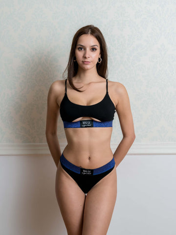Xmas Lurex Blue Lurex Cut Out Bra and Thong Set