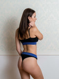 Blue Lurex Cut Out Bra and Thong Set