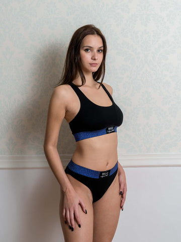 Xmas Blue Lurex Sporty Bra and Brazilian Set