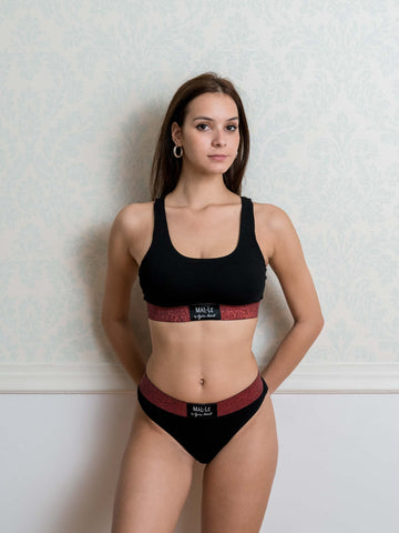 Red Lurex Sporty Bra and Brazilian Set