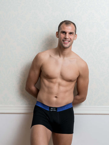 Blue Lurex Male Trunk Underwear