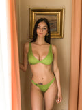 Green And Gold Logomania Bikini