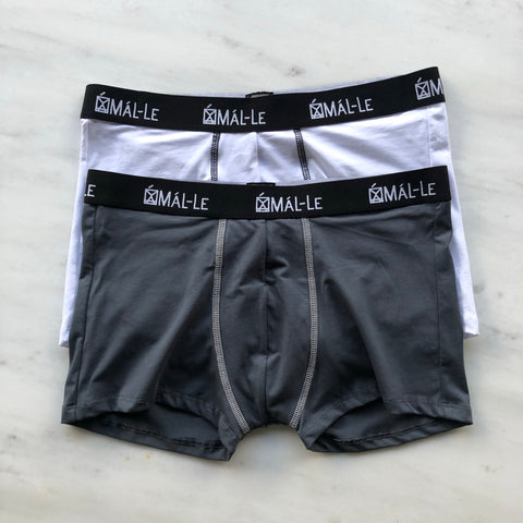 2 Pack Basic White & Gray Male Trunk Underwear