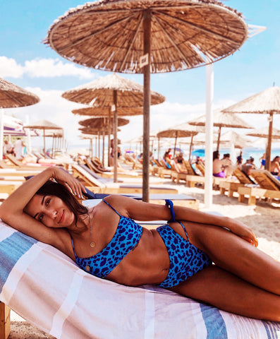 Blue Animal Print High Waist Bikini Swimsuit