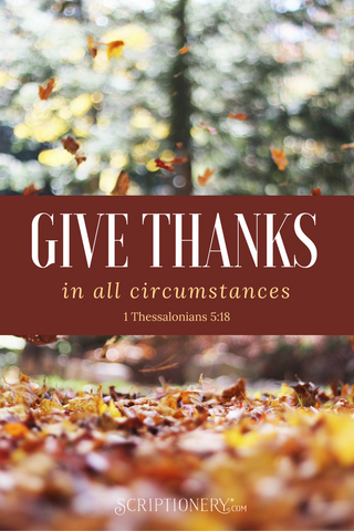 Be thankful in all circumstances, for this is God's will for you who belong to Christ Jesus. -1 Thessalonians 5:18