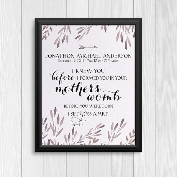 "Personalized Print ""I knew you"" - Leaves"