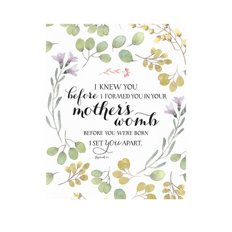 FREE Printable Download -- Jeremiah 1:5 - I Knew You