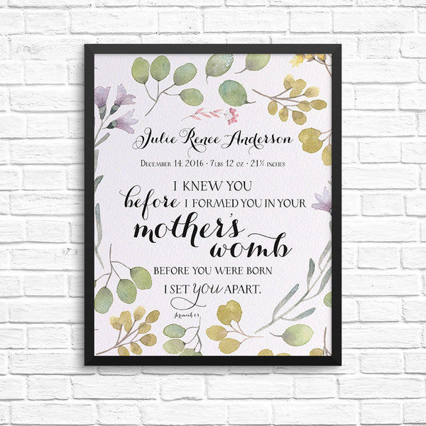 "Personalized Print ""I knew you"" - Wreath"