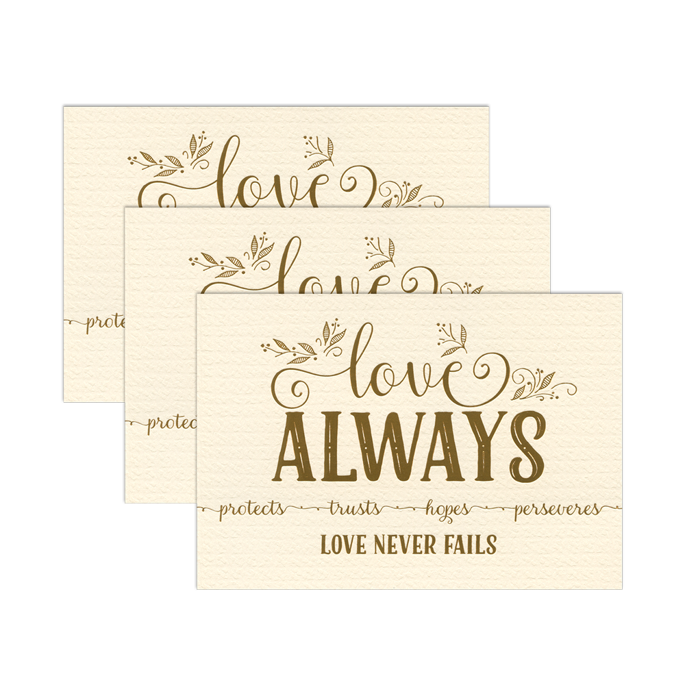 """Love Always"" 1 Corinthians 13 Art Print - Cream/Gold Foil - 3 Pack"