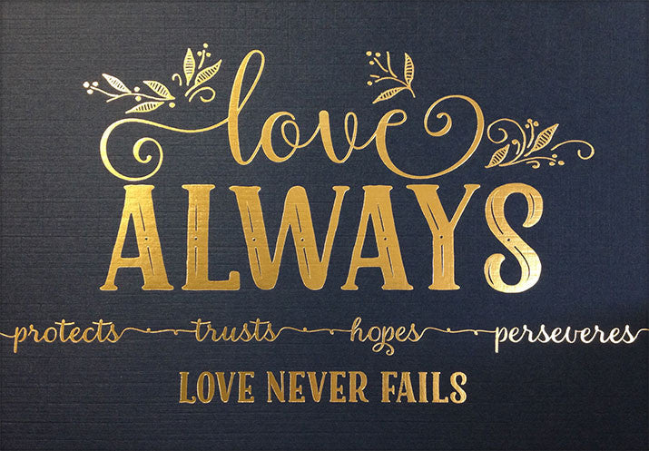 """Love Always"" 1 Corinthians 13 Art Print - Navy/Gold Foil"