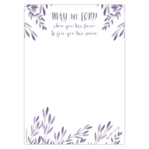 Numbers 6:24-26 Stationery - Purple