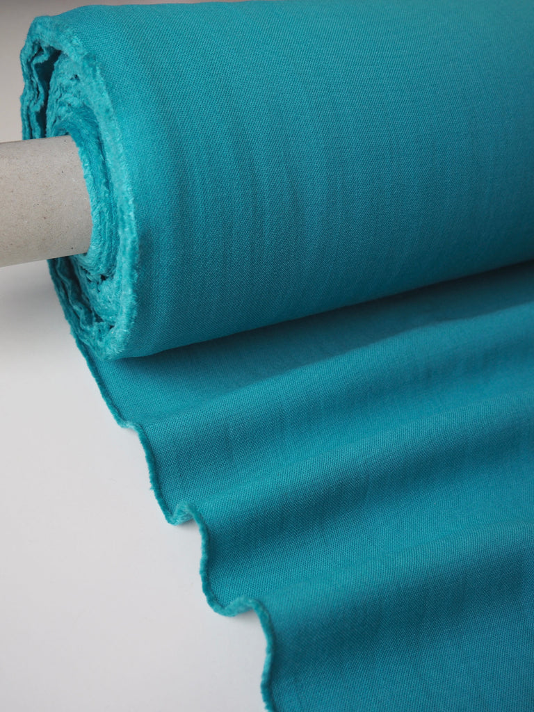 Turquoise Wool Twill Double Crepe