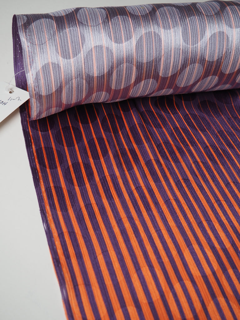 Tangerine and Purple Stripe Illusion Satin Jacquard