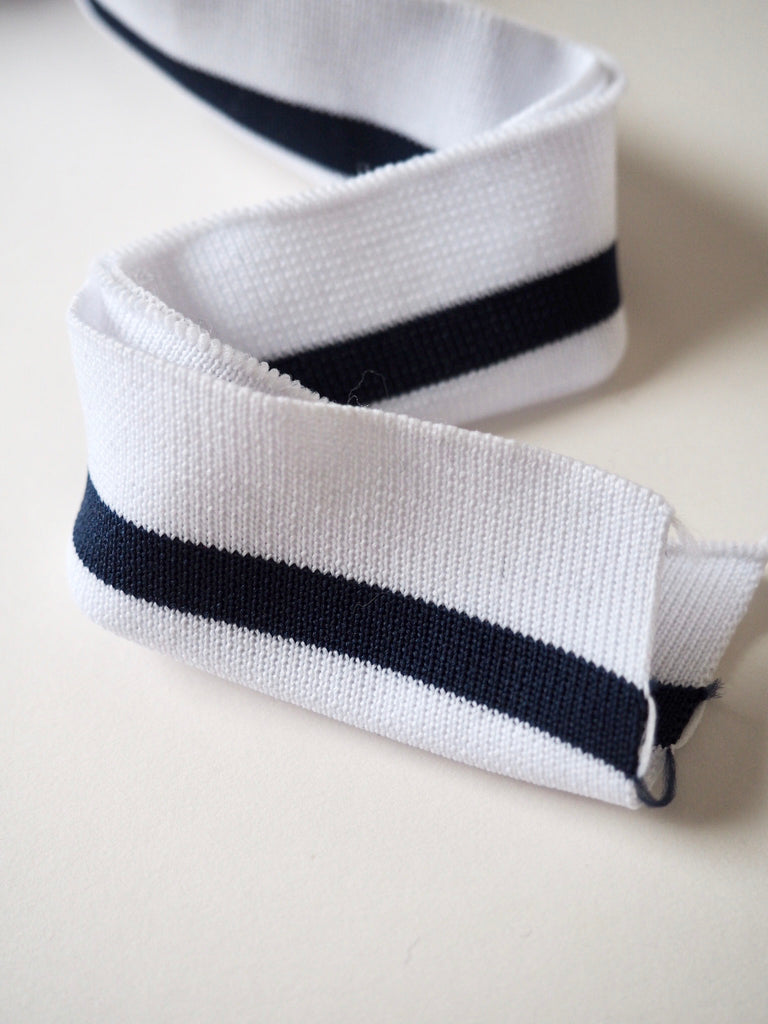 White and Navy Stripe Double Ribbed Cuff 3cm