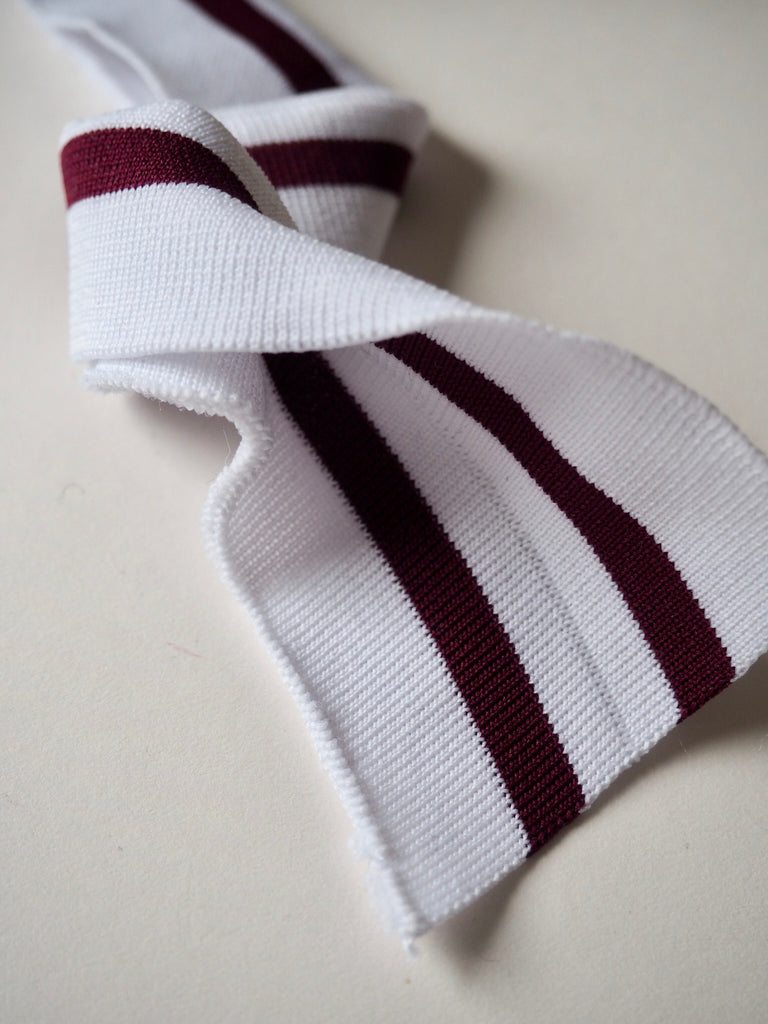 White and Burgundy Stripe Double Ribbed Cuff 3cm
