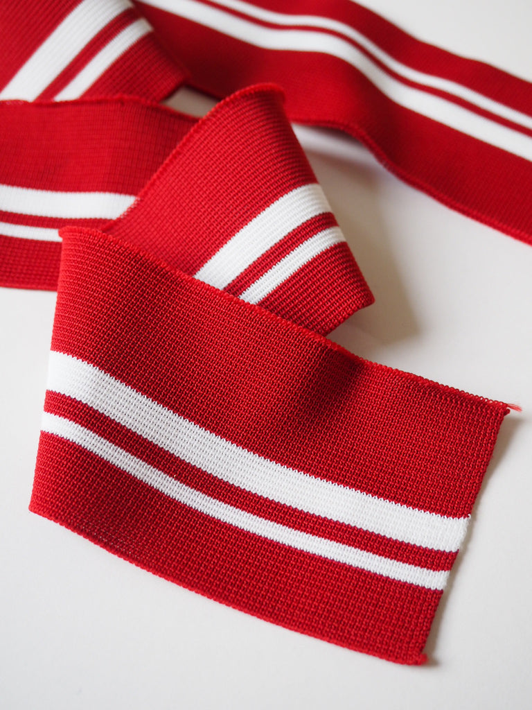 Red and White Stripe Ribbed Cuff 8cm