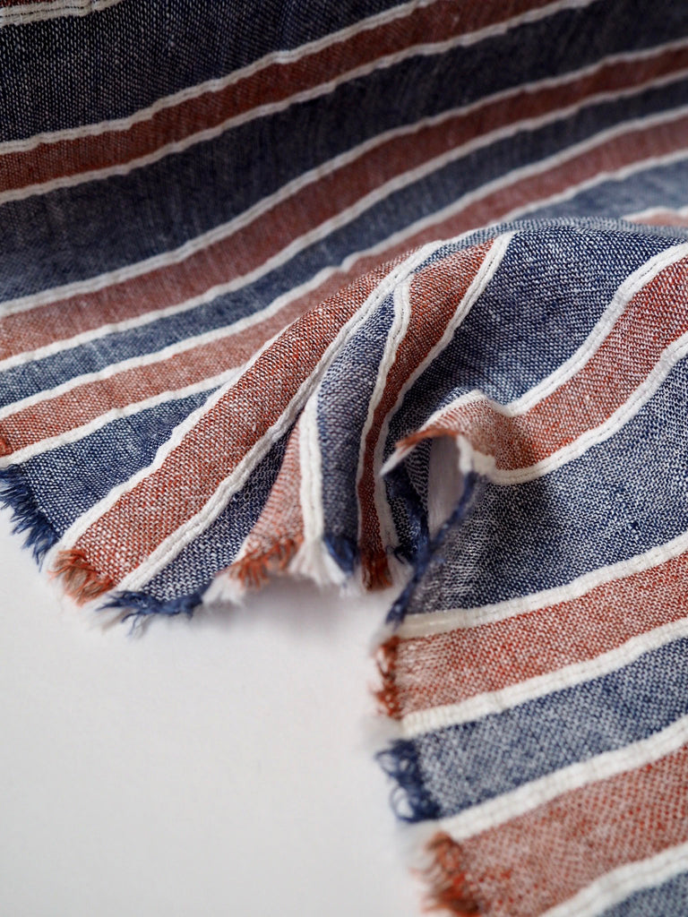 Cannes Corded Navy and Copper Linen