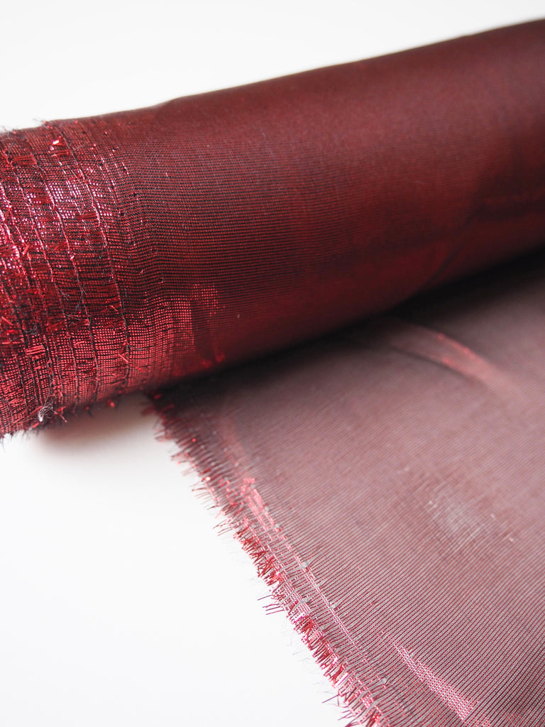 Cherry Red Metallic Tissue Lamé