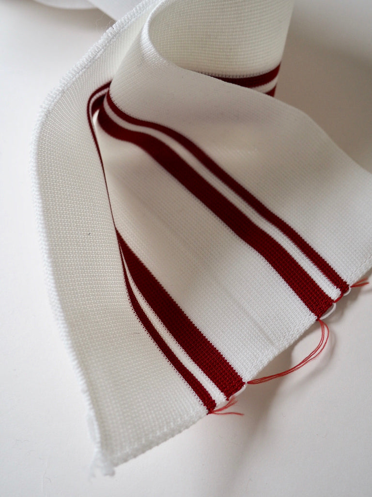 White with Red Stripes Double Cuff 8.25cm