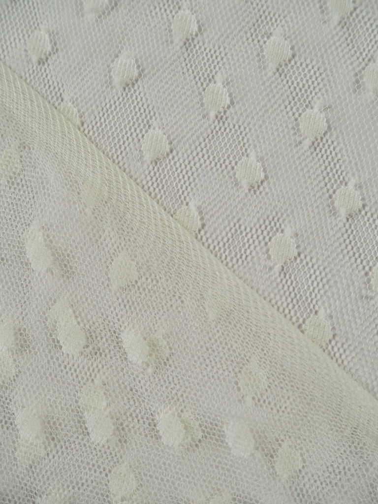 Lucina Cream Polka Dot Mesh