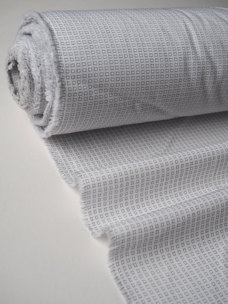 White and Grey Woven Square Cotton