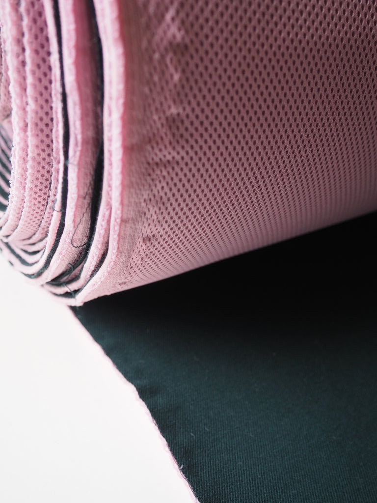 Forest Green and Pink Bonded Wool Twill and Spacer Mesh