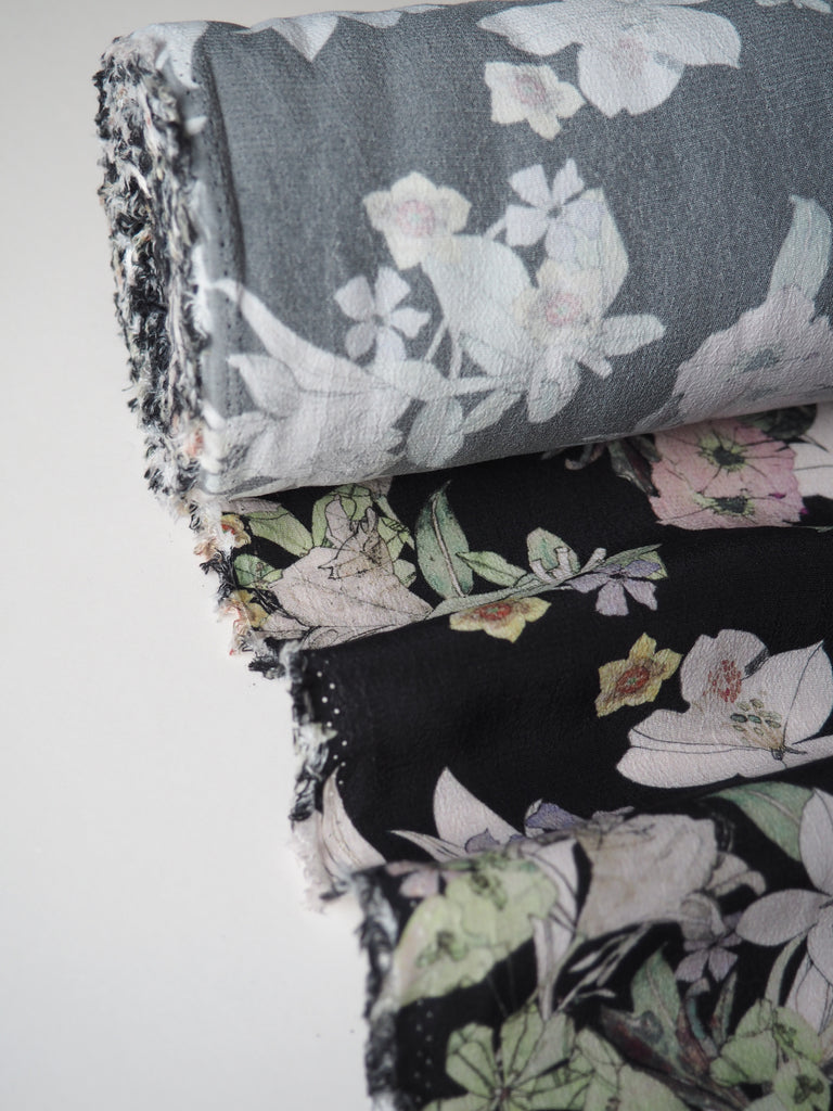 Black Botanical Sketch Viscose Crepe