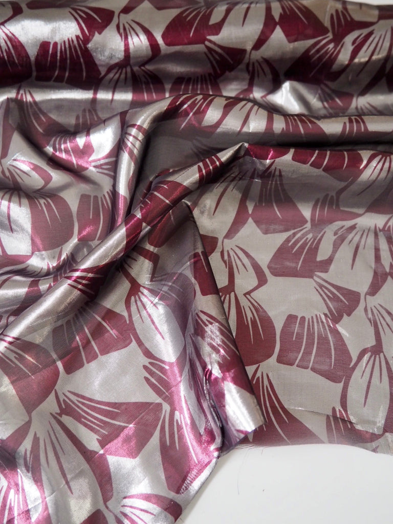 Silver and Burgundy Leaf Print Lamé