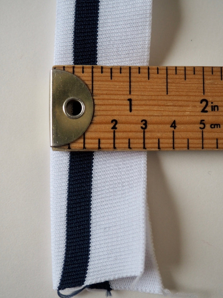 White with Navy Blue Stripes Double Cuff 3.25cm
