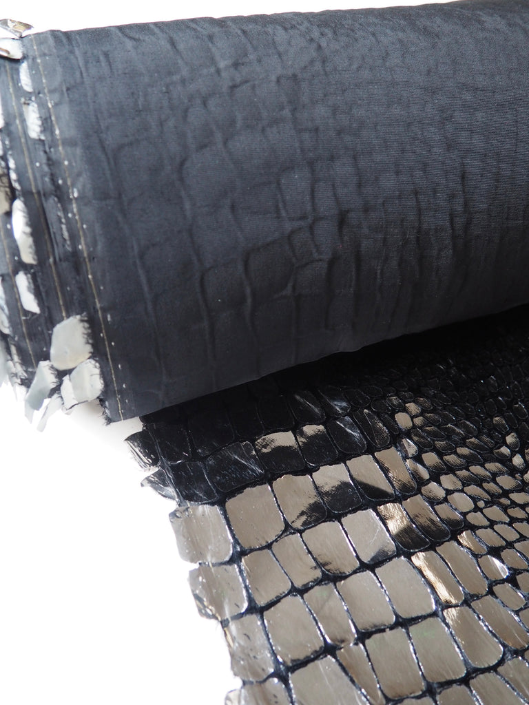 Black and Silver Foiled Croc Silk Velvet