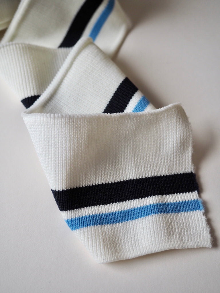 Ivory and Multi Blue Stripe Ribbed Cuff 7cm