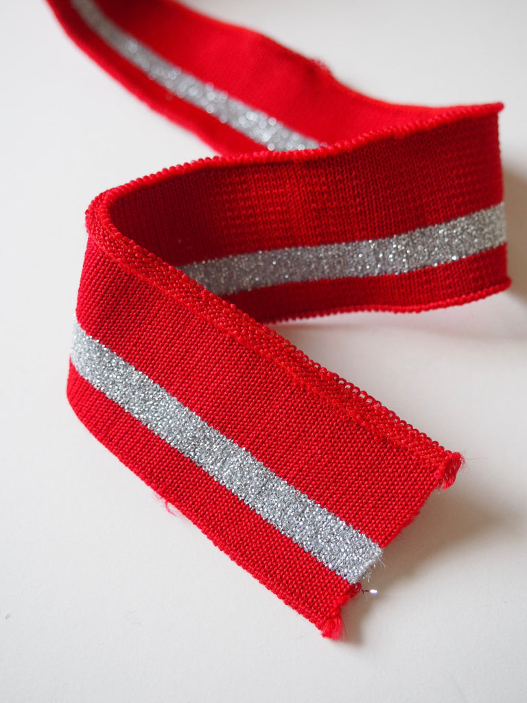 Red and Silver Sparkle Stripe Cuff 3cm