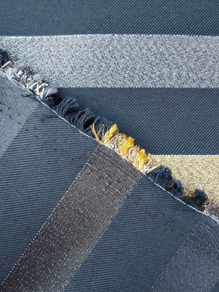 Black Twill with Silver and Gold Stripes