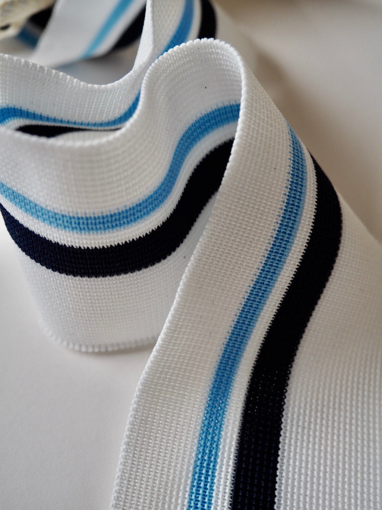 White and Multi Blue Stripe Ribbed Cuff 6.5cm