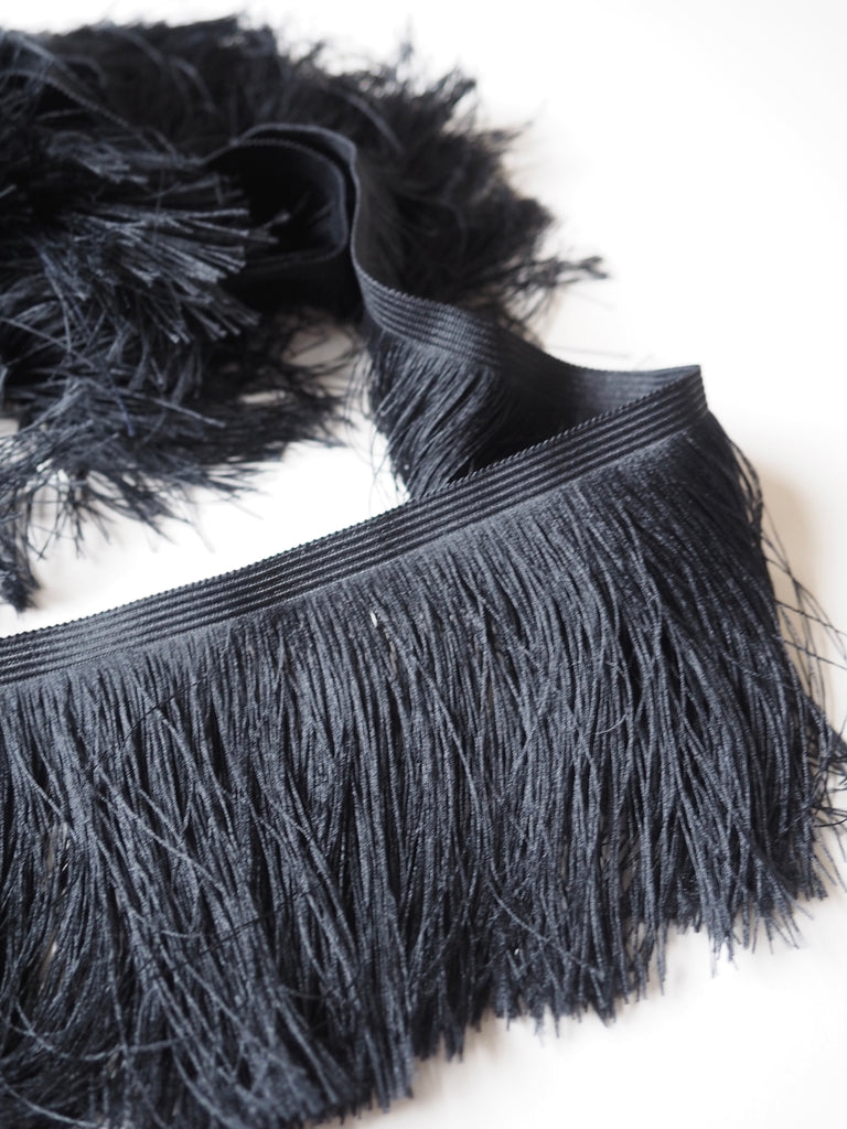 Black Feather Fringe Trim 10cm