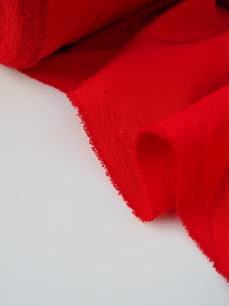 Red Polyester Crepe De Chine