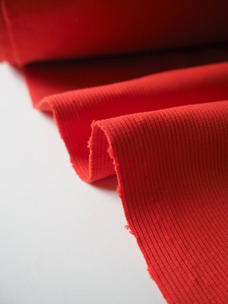 Red Ribbed Cotton Jersey