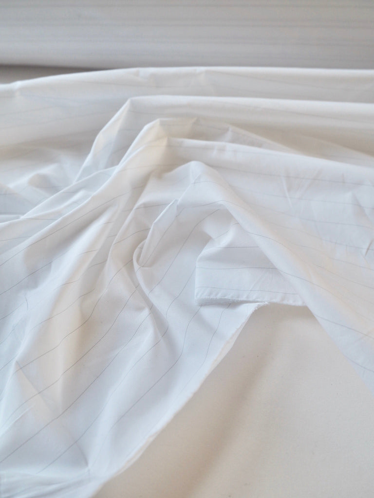 White and Grey Pinstripe Paper Taffeta