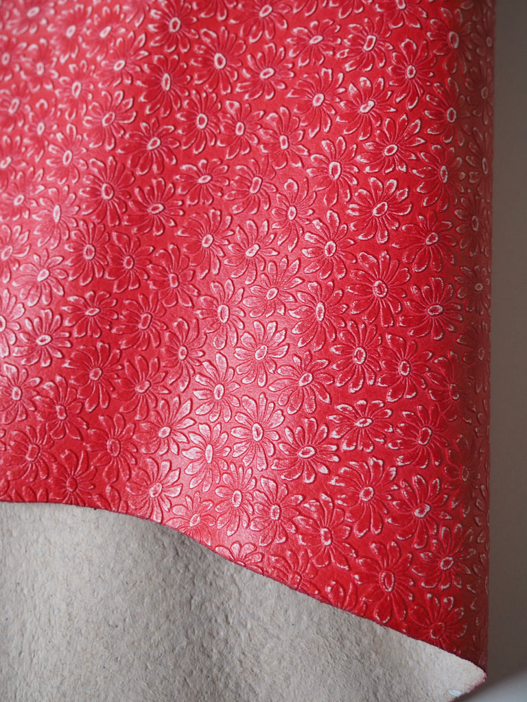 Embossed Red Flower Goat Hide Leather, 58 x 75cm (167)